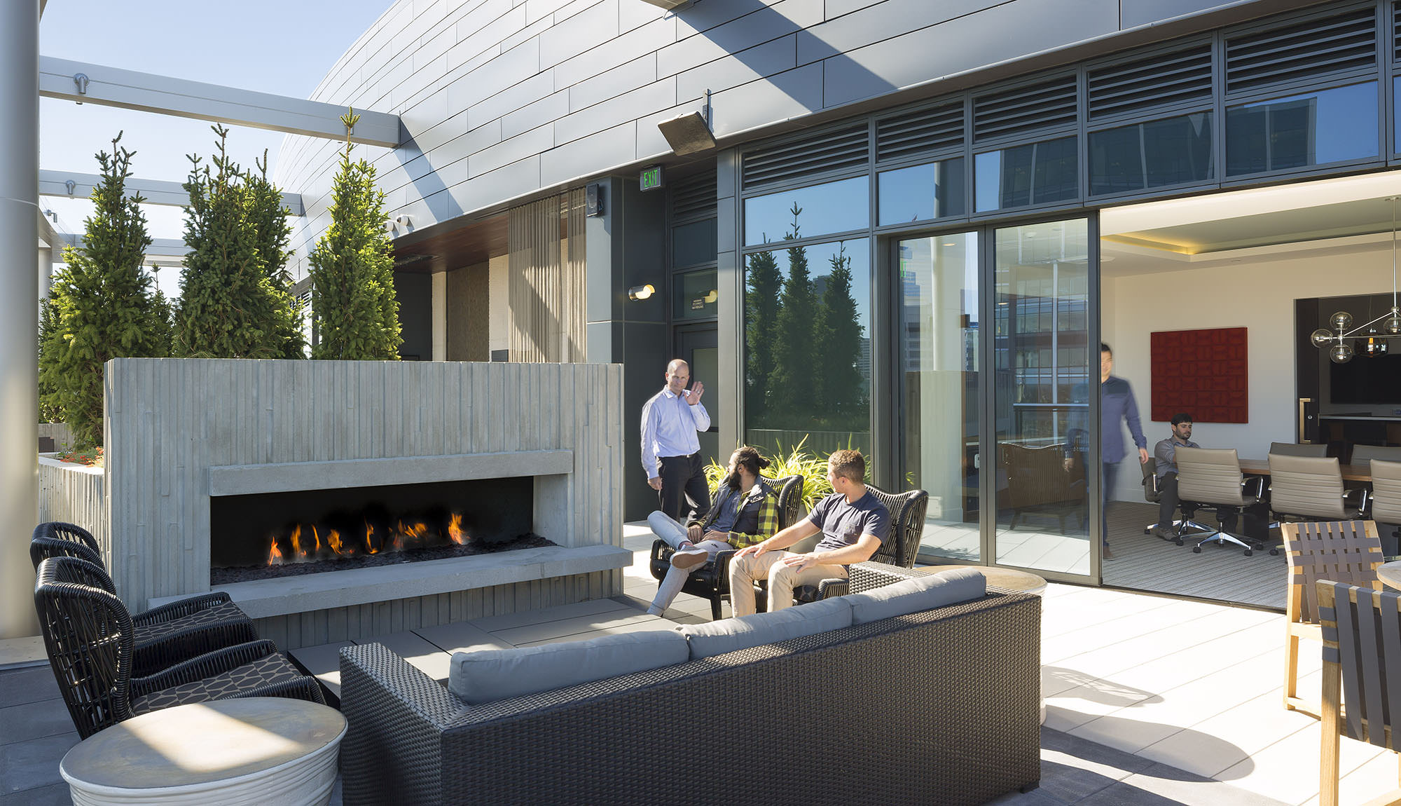Cirrus's rooftop outdoor fireplace